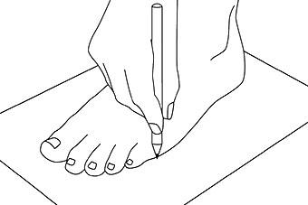 Symbolbild Zeichnen Sie die Umrisse Ihrer Füße